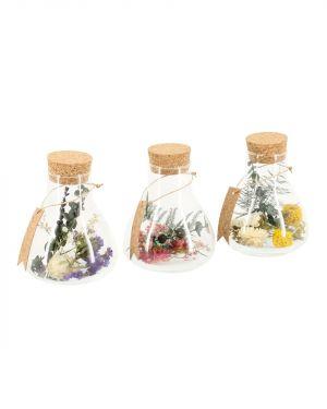 Set van 3 flesjes met droogbloemen