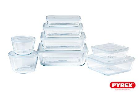 8-delige set Pyrex glazen schalen met deksel