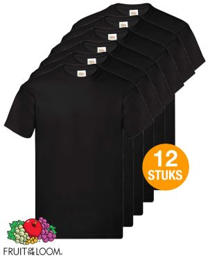 12 T-shirts Fruit of the Loom - zwart