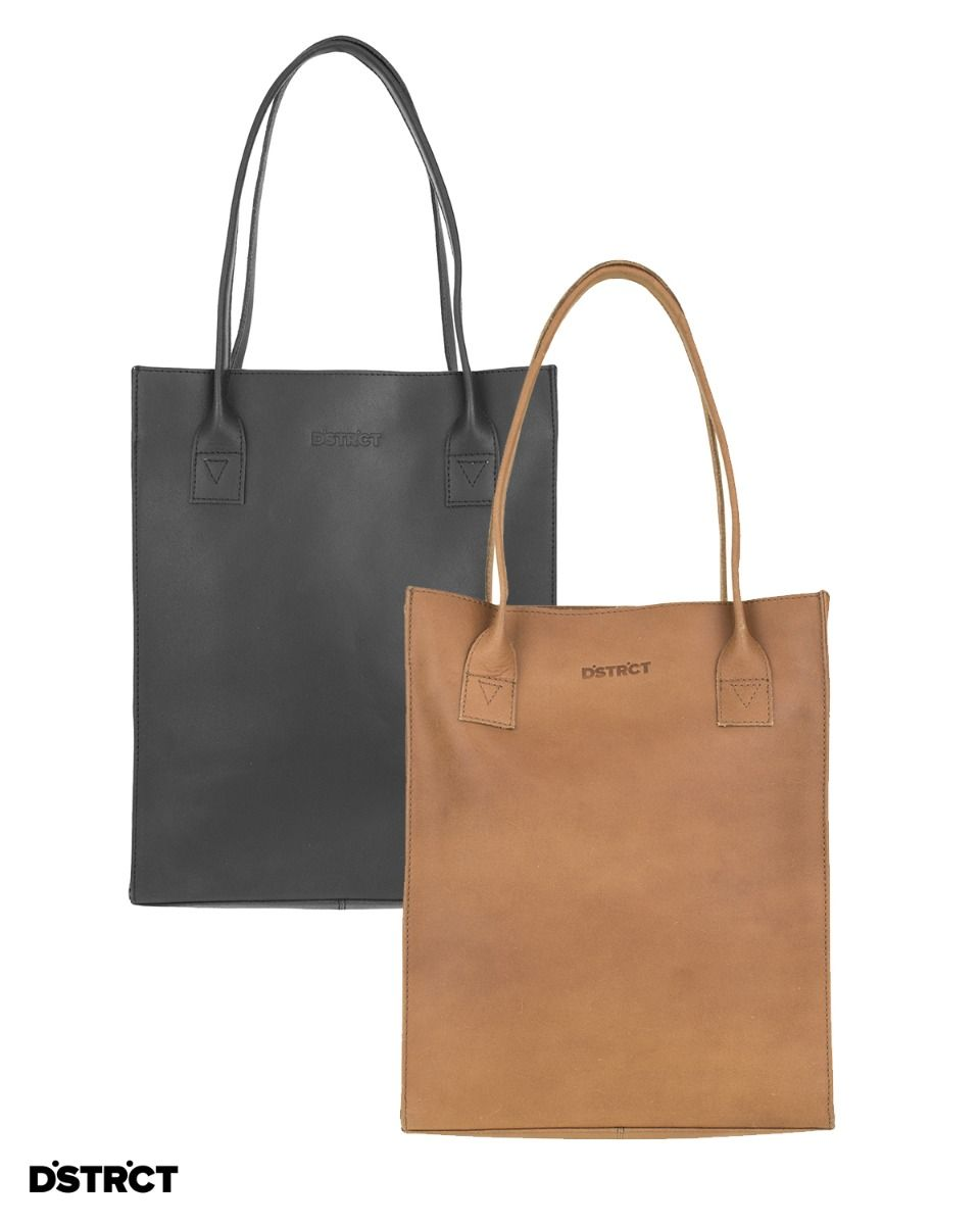 Shopper Riverside met laptopvak in zwart of cognac